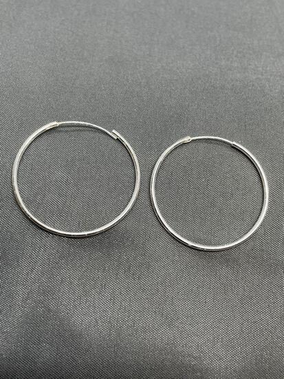 Round 28mm Diameter 1mm Wide Pair of Sterling Silver Hoop Earrings