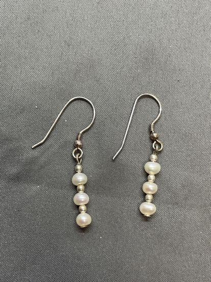 Handmade Freshwater Pearl Beaded 15mm Long Pair of Sterling Silver Drop Earrings
