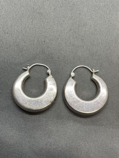 High Polished Knife Edge Detailed 25mm Diameter 5mm Wide Pair of Sterling Silver Hoop Earrings