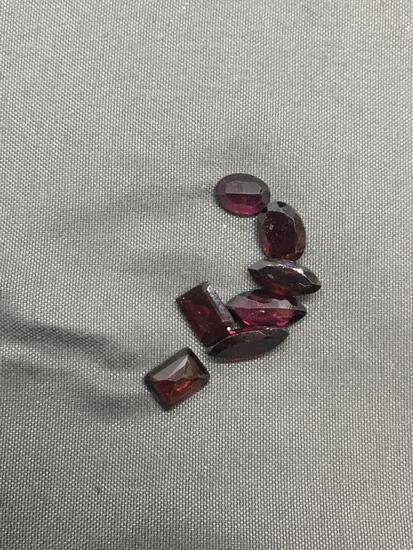 Lot of Seven Rectangular Step, Marquise & Oval Faceted Loose Garnet Gemstones