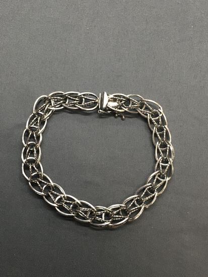 Rope & High Polished Detailed Saddle Link 9mm Wide 8in Long Sterling Silver Bracelet