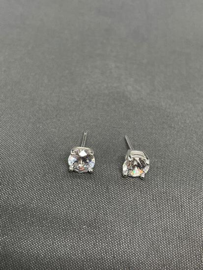 Round Faceted 6mm CZ Center Pair of Sterling Silver Stud Earrings