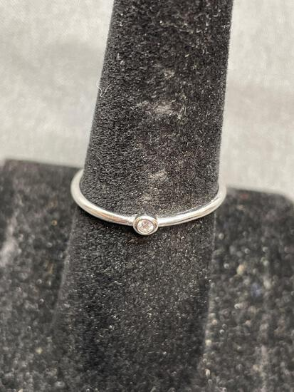 Round Faceted Bezel Set 2mm CZ Center High Polished Sterling Silver Promise Ring Band