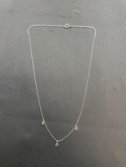 Cable Link 1.0mm Wide 18in Long Sterling Silver Necklace w/ Three Round Faceted 3.5mm CZ Charms