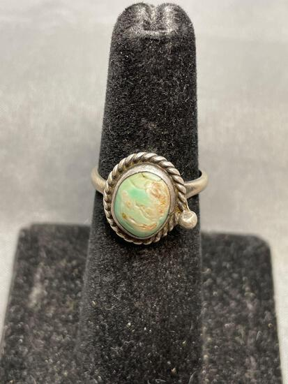 Rope Frame Detailed 10x9mm Turquoise Cabochon Center Sterling Silver Ring Band