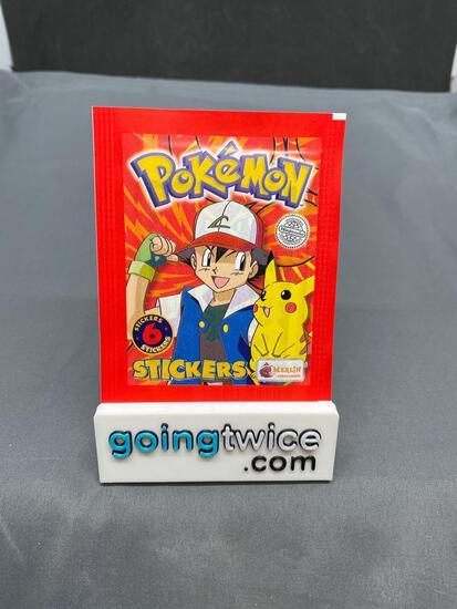 Factory Sealed Vintage 1999 Topps Pokemon 6 Sticker Pack - Rare!
