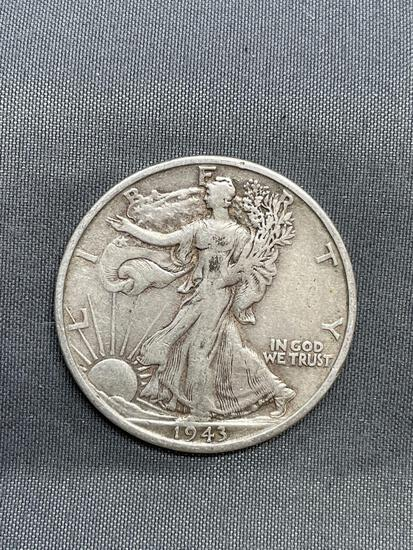 1943-S United States Walking Liberty Silver Half Dollar - 90% Silver Coin from Estate Collection