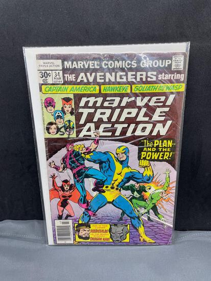 Vintage 1976 Marvel Triple Action Starring the Avengers #34 Comic Book from Collection