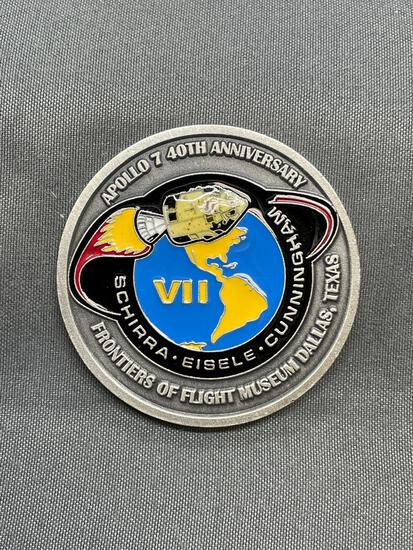 Frontiers of Flight Museum Dallas Texas Challenge Coin with Metal from Apollo 7