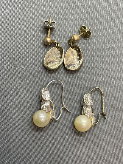 Lot of Two Silver-Tone Pairs of Fashion Earrings, One w/ Faux Pearls & One Clamshell Motif