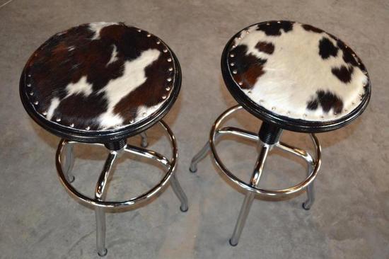 2 Handmade Cowhide Swivel Stools w/Adjustable Height