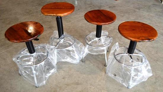 4 Handmade Mesquite Swivel Stools w/Adjustable Height