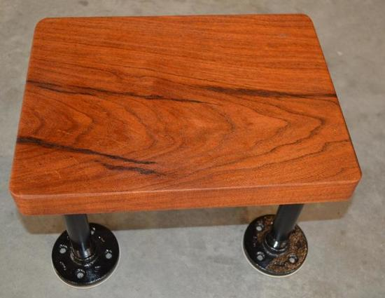 Small Handmade Mesquite Stool with Industrial Legs