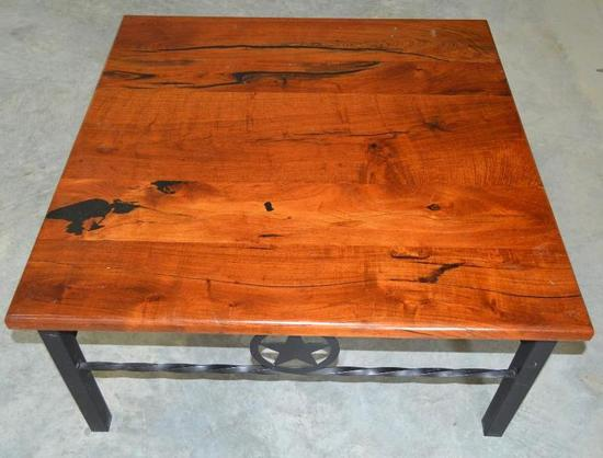 Handmade Mesquite and Wrought Iron Coffee Table/End Table