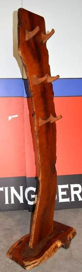 Handmade Mesquite Standing Coat/Hat Rack (Hooks on both sides)