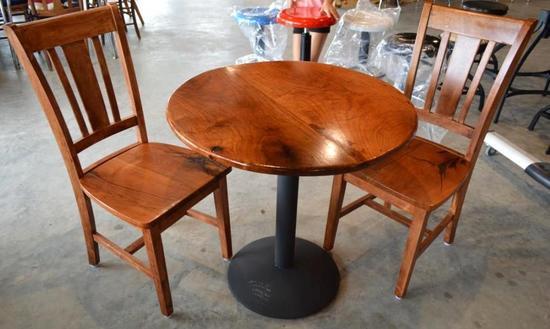 """Handmade Mesquite Round 30"""" Table w/ 2 Handmade Mesquite Chairs"""