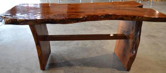 Handmade Mesquite Bench w/ Red Inlay