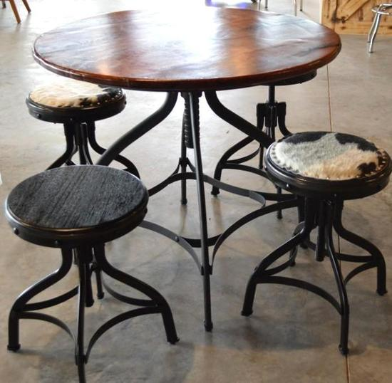 """Handmade 48"""" Round Mesquite Table w/ 4 Handmade Stools, Table and Stools Swivel & Rise"""