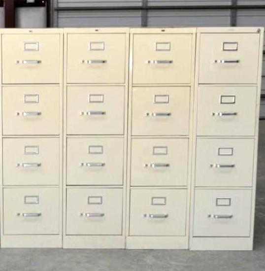 4 - HON Industries Letter Size Filing Cabinets w/ 4 Drawers