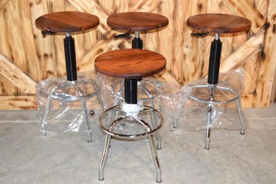 Set of 4 Mesquite Adjustable Stools
