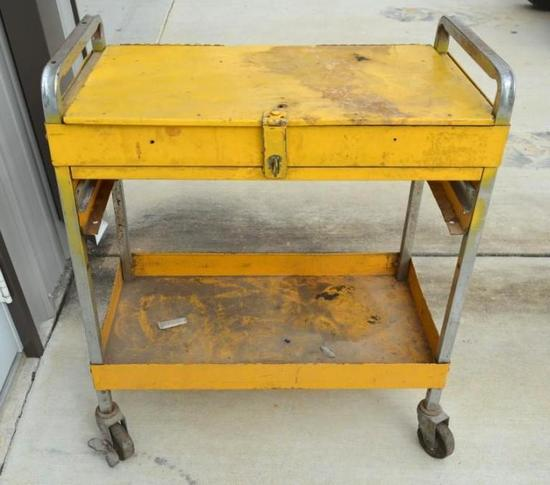 Metal Tool Cart with Top Storage Compartment on Wheels