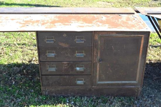 Set of 2 Fire Wall Cabinets with drawers and opening door
