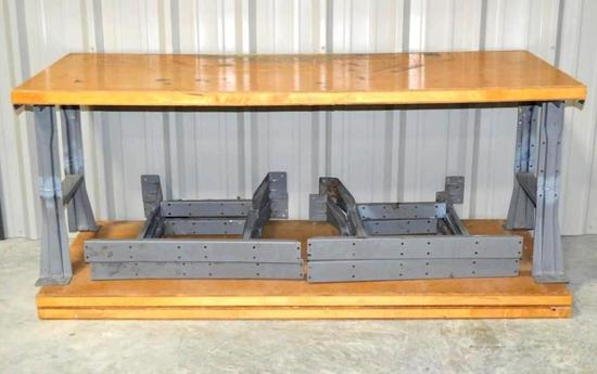 3 Heavy Duty Table Wood Tops with Steel Frame Legs