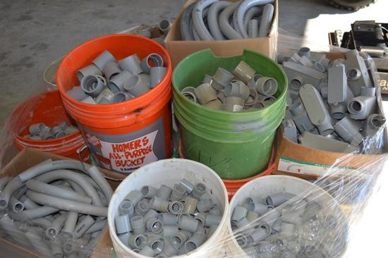 "Pallet of Electrical PVC Fittings/Elbows/Couplings/Adaptors34/"" Elbows"