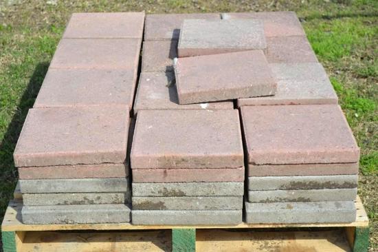 """Pallet of 62 - 12"""" x 12"""" brick stones"""