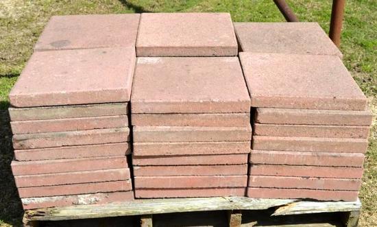 """Pallet of 51 - 16"""" x 16"""" brick stones"""