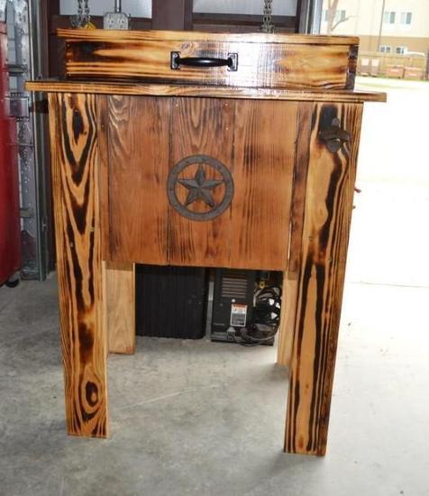 Wooden Patio Beverage Cooler on Legs
