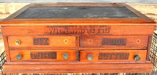 """""""Willimantic"""" 4-Drawer Antique Spool Cabinet with Desktop and Inkwell"""