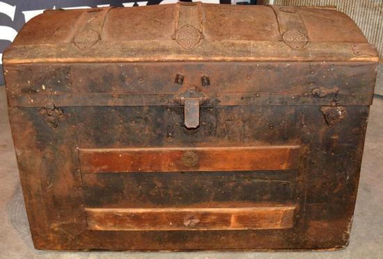 Vintage Antique Wooden Trunk