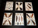 6 Shadow Boxes filled with Arrowheads / Native Spears