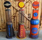 3 Metal Gas Pumps - Chevy, Shell, Gulf