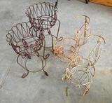 4 Metal Plant/Pot Holders - 2 Tricycles, 2 Standing Scroll Work