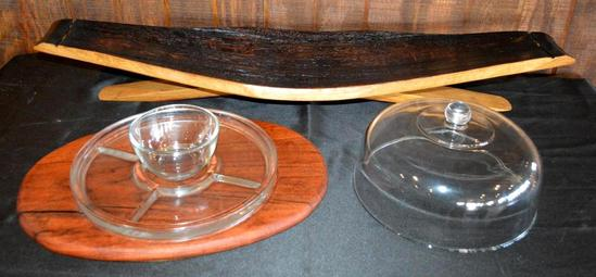 Handmade Mesquite Pieces - Wine Barrel Centerpiece, Cutting Board/Serving Tray, 2 Pieces Total