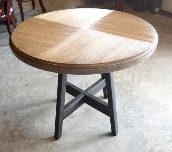 Wood Round Table on Iron Base