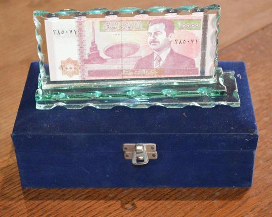 Ten Thousand Dinars - Central Bank of Iraq Glass Display Case