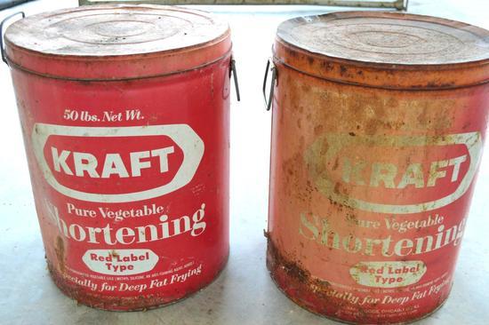 Set of Vintage Kraft 50 lb. Shortening Tubs