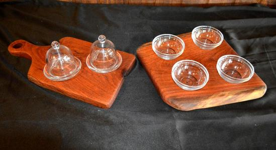 Handmade Mesquite Pieces - 2 Cutting Boards/Serving Trays w/ Glassware