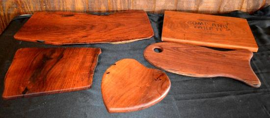 Handmade Mesquite Cutting Boards/Serving Trays, 5 Pieces Total