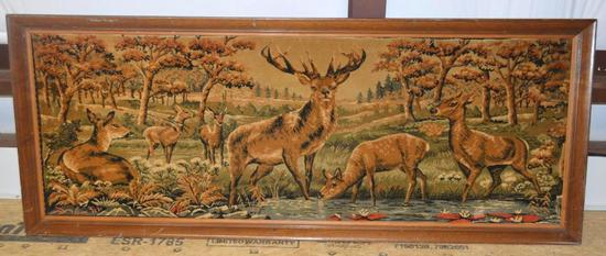 Vintage Tapestry with Buck/Deer in Large Wood Frame