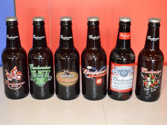 6 Glass Collectible Budweiser Bottles