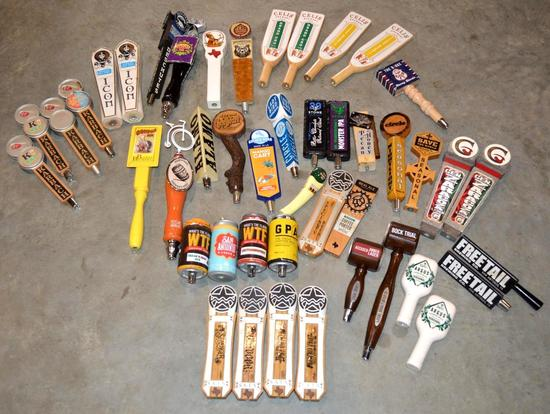 Miscellaneous Beer Tap Handles and set of vintage/retro license plates