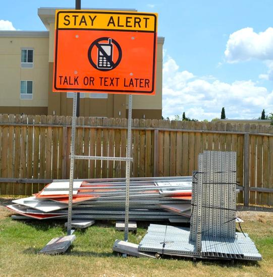 16 Various Work Zone Signs w/ Posts