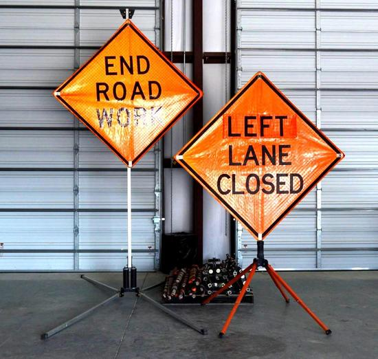 17 Various Roll-Up Work Zone Signs w/ 6 Stands