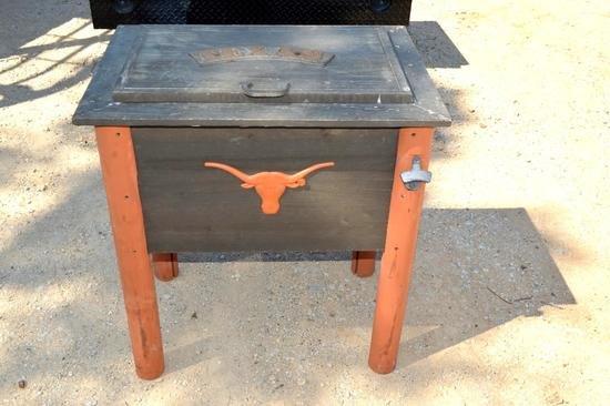 Wooden Texas Longhorn Ice Chest/Cooler