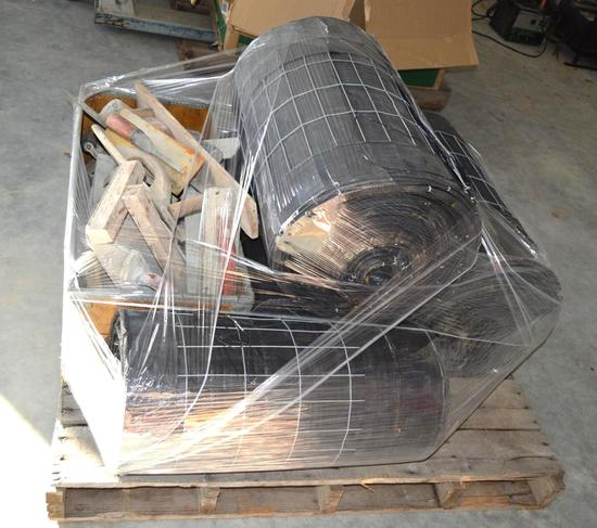 Pallet of Silt Fencing (3 Rolls) w/ wire backing and Various Concrete Tools