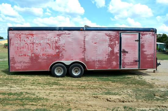 Large Enclosed/Cargo Trailer with Rear Ramp & Side Door